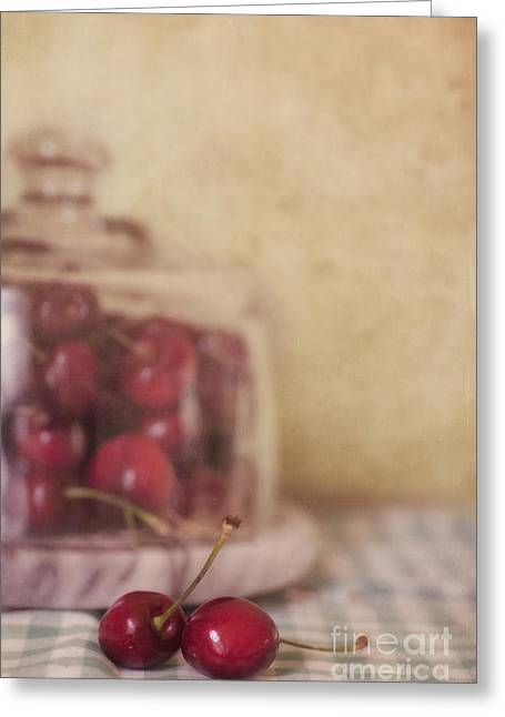Food Still Life Greeting Cards - Cerise Greeting Card by Priska Wettstein