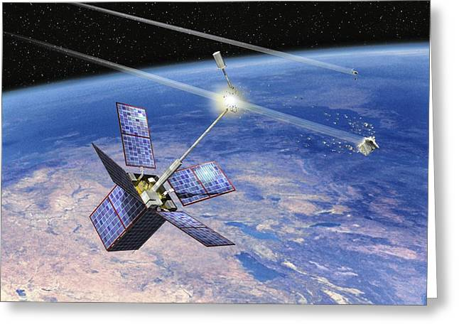 Stabilization Greeting Cards - Cerise Satellite Collision, Artwork Greeting Card by David Ducros