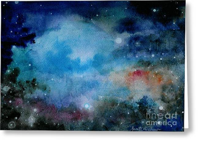 Outer Space Paintings Greeting Cards - Cerulean Space Clouds Greeting Card by Janet Hinshaw
