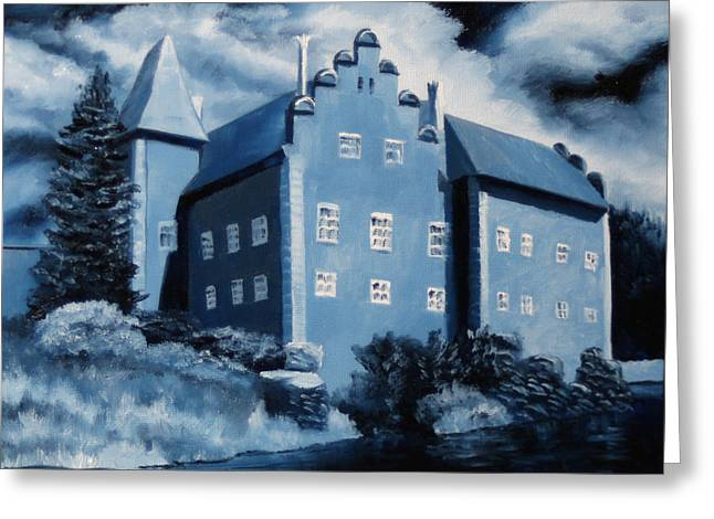 Prussian Blue Greeting Cards - Cervena Lhota Castle  Czech Republic  Midnight Oil Series Greeting Card by Mark Webster