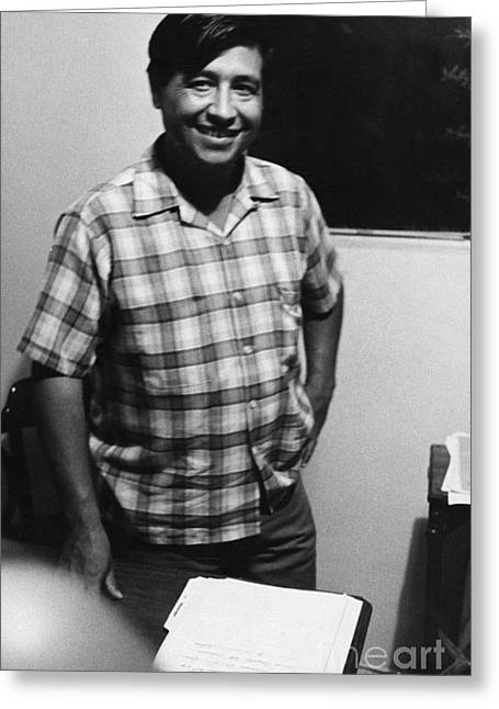 Civil Rights Greeting Cards - Cesar Chavez (1927-1993) Greeting Card by Granger