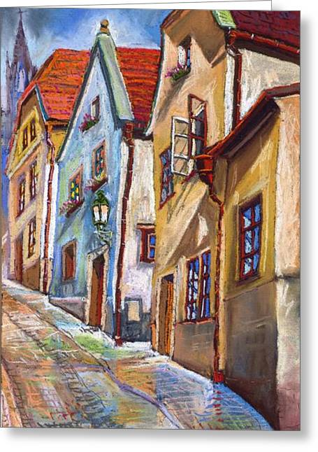 Old Street Tapestries Textiles Greeting Cards - Cesky Krumlov Old Street 2 Greeting Card by Yuriy  Shevchuk