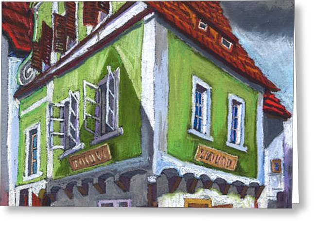 Cesky Krumlov Old Street 3 Greeting Card by Yuriy  Shevchuk