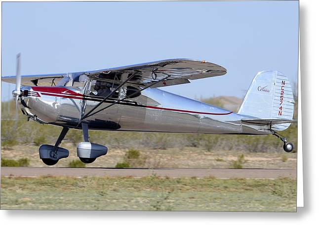 Casa Grande Greeting Cards - Cessna 140 NC2574N Cactus Fly-in March 2 2012 Greeting Card by Brian Lockett