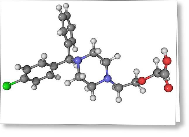Molecular Structure Greeting Cards - Cetirizine Antihistamine Molecule Greeting Card by Laguna Design
