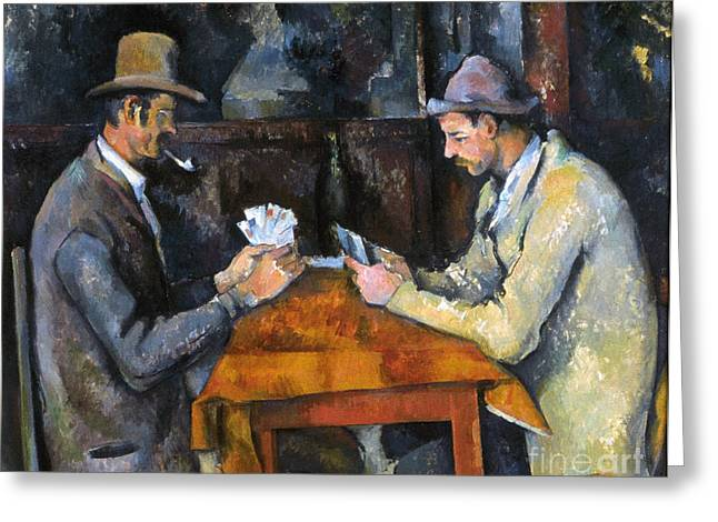 Playing Cards Greeting Cards - CEZANNE: CARD PLAYER, c1892 Greeting Card by Granger