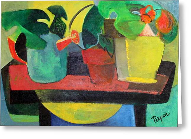 Abstract Flowers And Leaves Greeting Cards - Cezanne Potting Stand Greeting Card by Betty Pieper