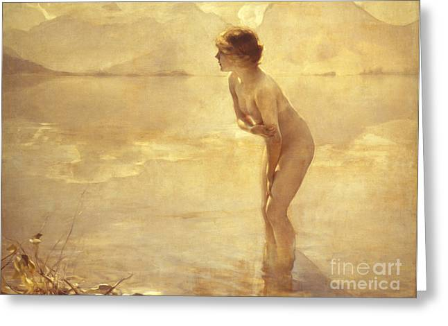 Woman Nude Greeting Cards - Chabas: September Morn Greeting Card by Granger
