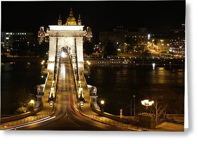 Exposure Pyrography Greeting Cards - Chain Bridge Budapest From Above Greeting Card by Zsolt Bicskey