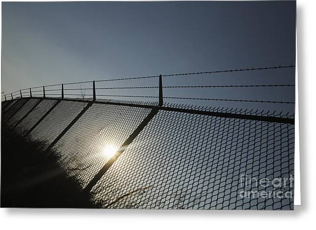 Barbed Wire Fences Greeting Cards - Chain Link and Barbed Wire Fence Greeting Card by Will & Deni McIntyre