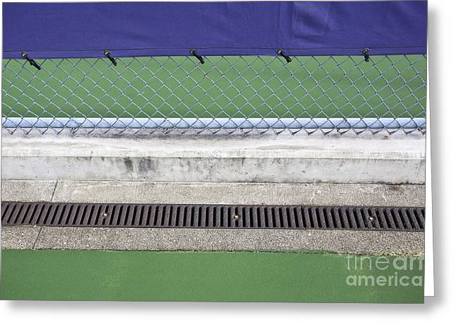 Grate Greeting Cards - Chain Link Fence on Tennis Courts Greeting Card by Paul Edmondson