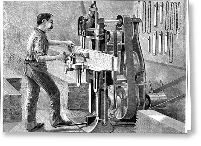 Saw Greeting Cards - Chain Mortiser Saw, 19th Century Greeting Card by