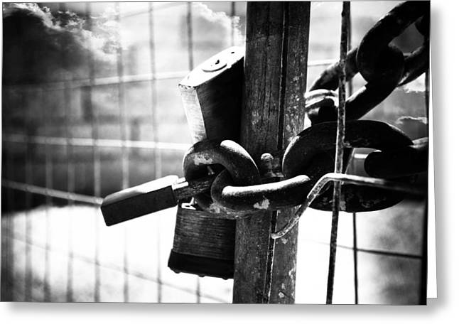 Chained Gate Greeting Card by Phill Petrovic
