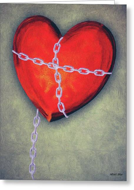 Chains Greeting Cards - Chained Heart Greeting Card by Jeff Kolker