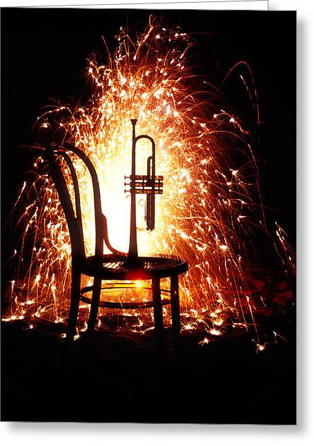 Celebration Time Greeting Cards - Chair and horn with fireworks Greeting Card by Garry Gay