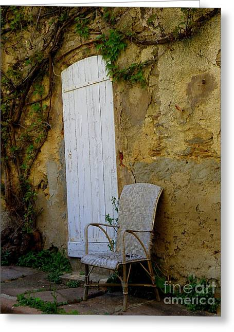Chair By The White Door Greeting Card by Lainie Wrightson