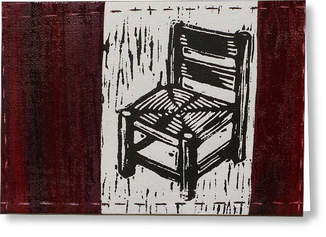 Lino Mixed Media Greeting Cards - Chair I Greeting Card by Peter Allan