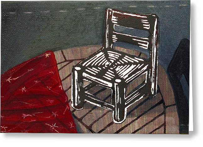Lino Mixed Media Greeting Cards - Chair II Greeting Card by Peter Allan