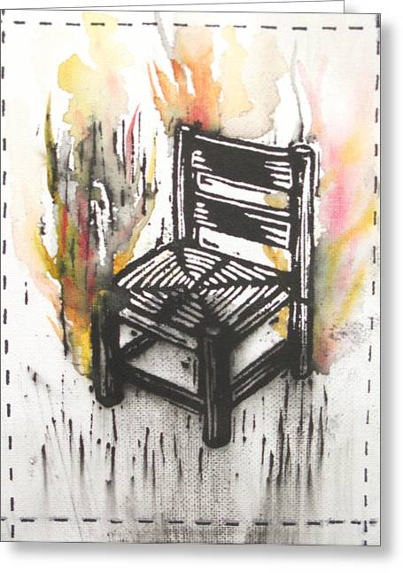 Lino Paintings Greeting Cards - Chair III Greeting Card by Peter Allan