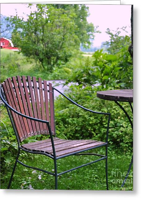 Mountain Valley Greeting Cards - Chair in the Valley of the Barn Greeting Card by Wayne Nielsen