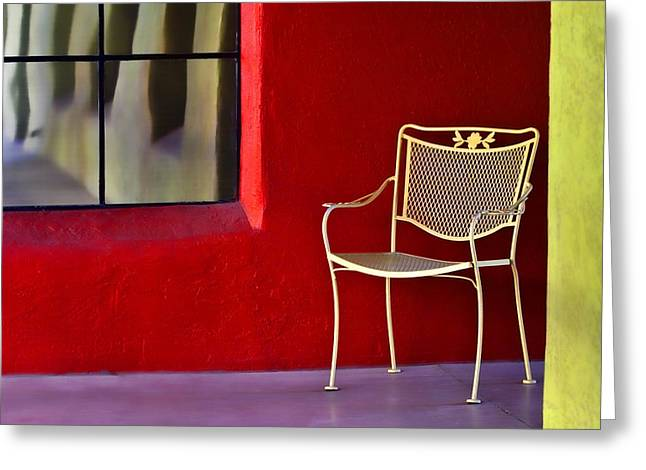 Window Reflection Greeting Cards - Chair on the Balcony Greeting Card by Carol Leigh