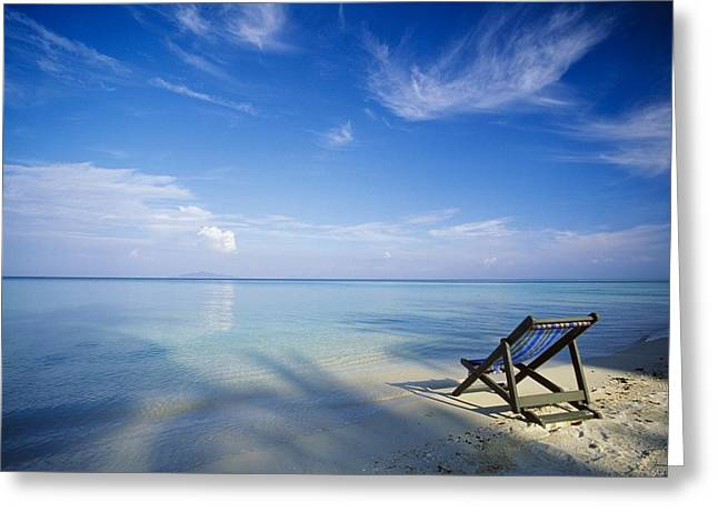 Empty Chairs Greeting Cards - Chair On Tropical Beach In Ko Phi Phi Greeting Card by Bilderbuch