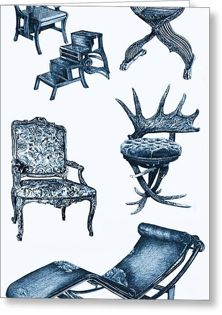 Chaise Drawings Greeting Cards - Chair poster in blue Greeting Card by Lee-Ann Adendorff
