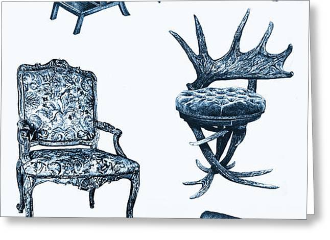 Chair poster in blue Greeting Card by Lee-Ann Adendorff