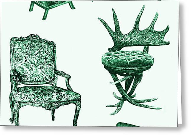 Chair poster in green  Greeting Card by Lee-Ann Adendorff