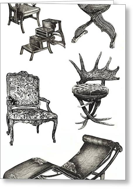 Chaise Drawings Greeting Cards - Chair poster vertical  Greeting Card by Lee-Ann Adendorff