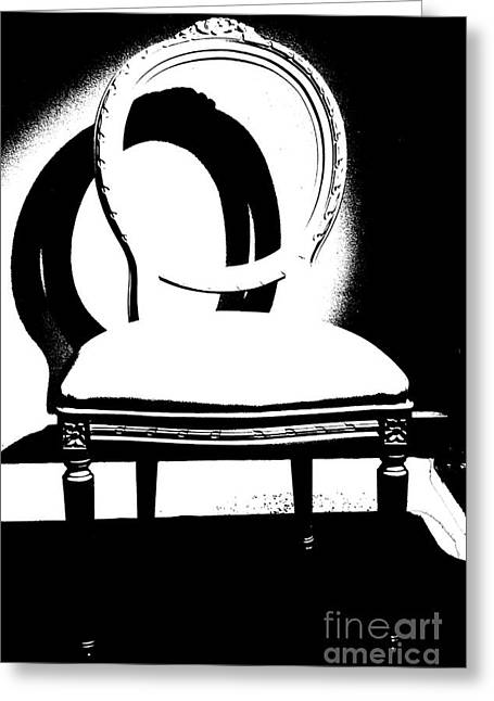 E Black Greeting Cards - Chair Silhouette Greeting Card by ArtyZen Studios