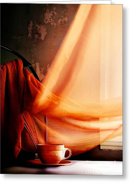 Interior Still Life Photographs Greeting Cards - Chair With Coffee Cup Greeting Card by HD Connelly