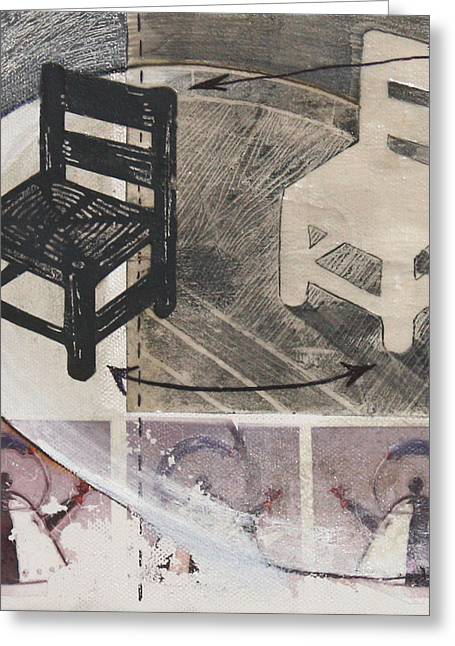 Lino Cut Mixed Media Greeting Cards - Chair XI Greeting Card by Peter Allan