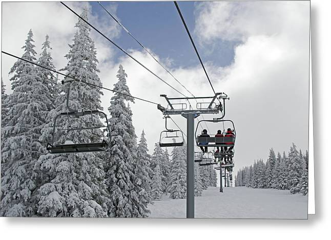 Chairlift Greeting Cards - Chairlift at Vail Resort - Colorado Greeting Card by Brendan Reals