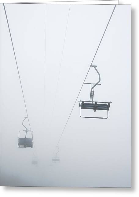 Chairlift Greeting Cards - Chairlift in the fog Greeting Card by Matthias Hauser