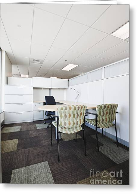 Office Cubicle Greeting Cards - Chairs and Desk in Office Cubicle Greeting Card by Jetta Productions, Inc