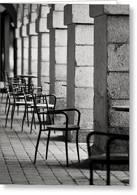 By Myself Greeting Cards - Chairs and pillars  Greeting Card by Marcio Faustino