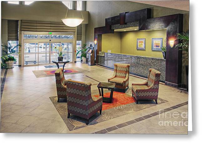 Chairs And Tables In Hotel Lobby Greeting Card by Andersen Ross