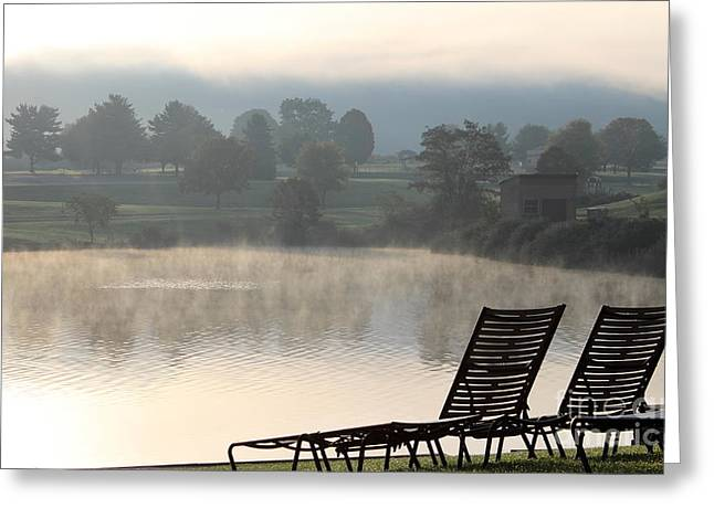 Lawn Chair Greeting Cards - Chairs at sunrise Greeting Card by Ursula Lawrence