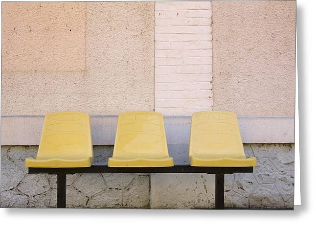 Exterior Wall Greeting Cards - Chairs Greeting Card by Bernard Jaubert