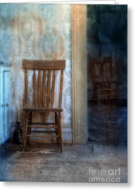 Abandoned House Greeting Cards - Chairs in Rundown House Greeting Card by Jill Battaglia