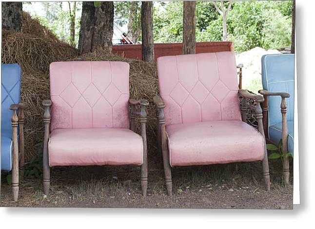 Empty Chairs Greeting Cards - Chairs On The Grass Green.  Greeting Card by Chavalit Kamolthamanon