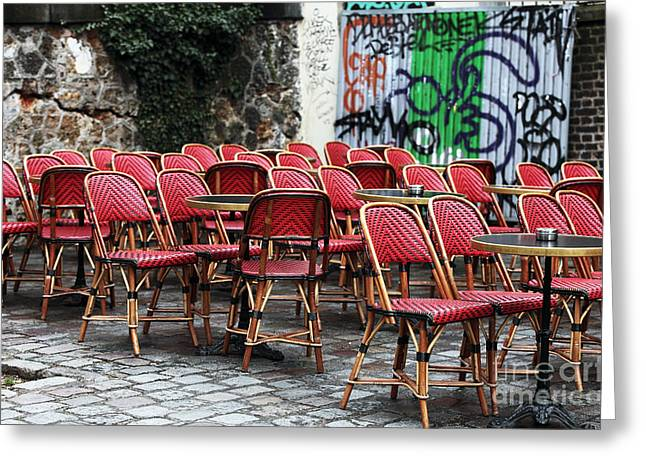Chaise Photographs Greeting Cards - Chaises Rouges Greeting Card by John Rizzuto