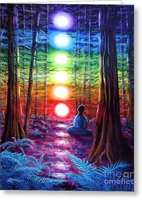 Hindu Greeting Cards - Chakra Meditation in the Redwoods Greeting Card by Laura Iverson