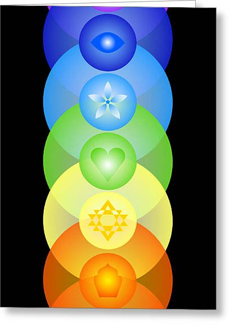 Chakra Rainbow Greeting Cards - Chakra Rainbow Greeting Card by Clare Goodwin