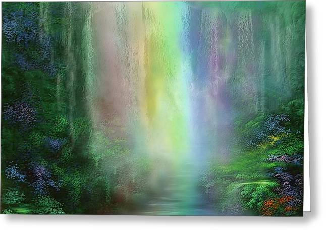 Mood Art Greeting Cards - Chakra Waterfalls Greeting Card by Carol Cavalaris