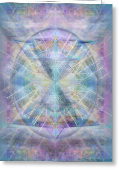 Sacred Geometry Greeting Cards - Chalice of VorticSpheres of Color Shining Forth over Tapestry Greeting Card by Christopher Pringer