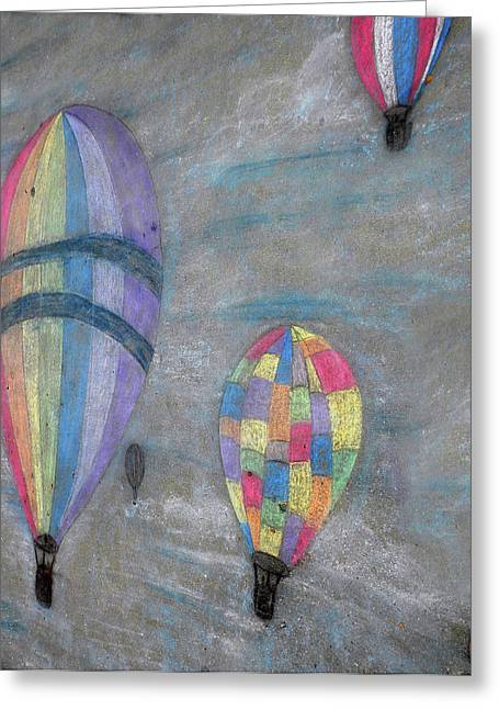 Colorful Photography Drawings Greeting Cards - Chalk Drawing of Hot Air Balloons Greeting Card by Thomas Woolworth