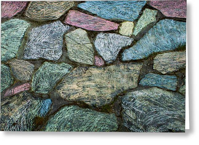 Flagstone Greeting Cards - Chalk on Flagstones Greeting Card by Hakon Soreide