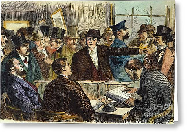 Democratic System Greeting Cards - Challenging A Voter, 1872 Greeting Card by Granger